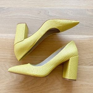 KENNETH COLE Margaux Yellow snake skin block heel